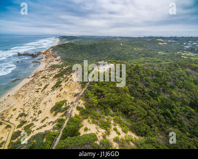 Aerial view of long wooden stairs leading to Coppins Lookout gazebo at Sorrento Ocean Beach. Mornington Peninsula, - Stock Photo