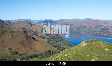 View from Hallin Fell south down Ullswater in Lake District, England, UK - Stock Photo