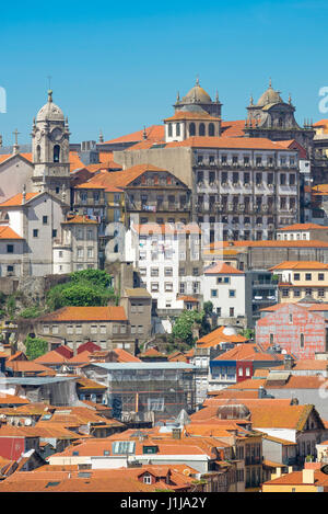 Ribeira Porto Portugal, view of the historic old town Ribeira district in the centre of Porto, Portugal. - Stock Photo