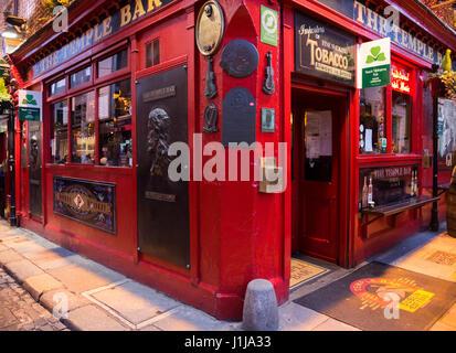 DUBLIN, IRELAND - FEB 15, 2014: The Temple Bar pub. Temple Bar historic district is known as Dublins cultural quarter - Stock Photo