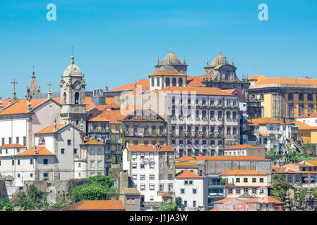 Ribeira Porto Portugal, view of the historic waterfront buildings of the old town Ribeira district in the centre - Stock Photo