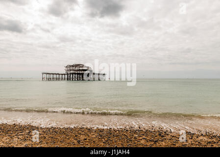 Day view of Brighton Pier after fire. - Stock Photo