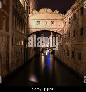 Long exposure night images of the Bridge of Sighs over the Rio di Palazzo Venice Italy - Stock Photo