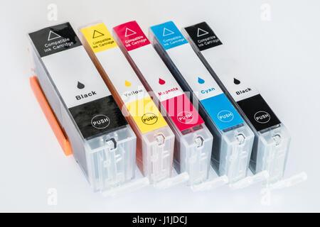 ink cartridge  isolated on white background  - cmyk - Stock Photo