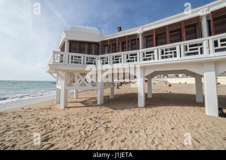 Caleta beach in the middle of the old city is the most popular of the beaches of Cadiz Andalusia Spain - Stock Photo