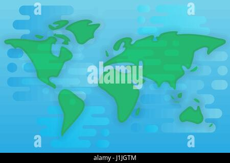 World map cartoon flat illustration - Stock Photo
