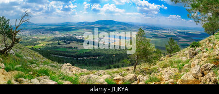 Panorama of the Jezreel Valley landscape, viewed from Mount Precipice. Northern Israel - Stock Photo