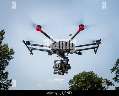 DJI Matrice 600 flying - Stock Photo