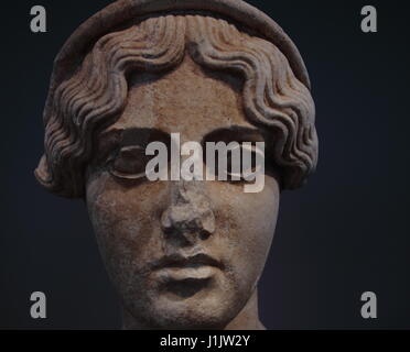 Detail of a bust of a female diety on display in the National Roman Museum (Palazzo Massimo) - Stock Photo