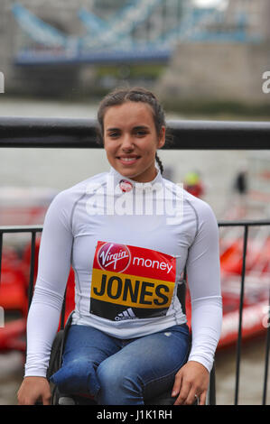 London, UK. 21st. April, 2017. Jade Jones (GBR) at the Virgin Money London Marathon pre-race photocall for the Wheelchair - Stock Photo