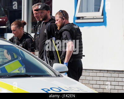 Newquay, Cornwall, UK 21st april 2017. Possible disaster looms for Airwave Radio Communications dependant on roof - Stock Photo