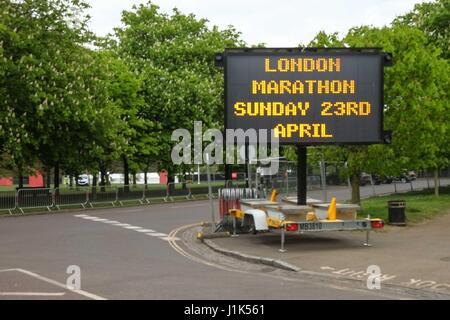 London, UK. 21st April 2017. Preparations for this Sundays London Marathon on Blackheath and Greenwich Park, South - Stock Photo