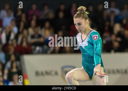 Ilaria Kaeslin (SUI) performs on the floor during the Women's Apparatus Finals at the European Men's and Women's Artistic Gymnastics Championships in Cluj Napoca, Romania. 21.04.2017 Stock Photo