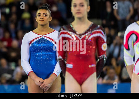 Cluj Napoca, Romania. 21st Apr, 2017. Elissa Downie (GBR) at the awarding ceremony during the Women's Apparatus - Stock Photo
