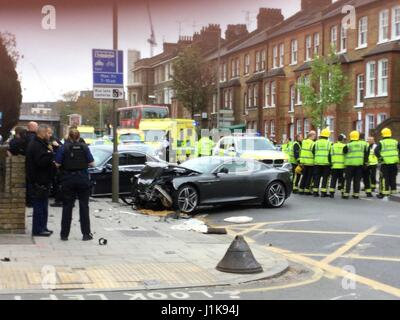 Battersea, London, UK. 22nd Apr, 2017. A crash involving a Sports Jaguar, Mercedes Saloon and moped occurred, Saturday - Stock Photo