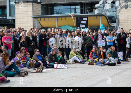 Bristol, UK. 22nd Apr, 2017. Large crowds assemble in Millenium Square, Bristol ahead of the March for Science Credit: - Stock Photo