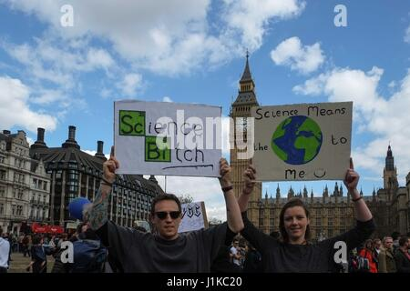 London, UK. 22nd Apr, 2017. Scientist march from The Science Museum in Kennington and rally in Parliament Square - Stock Photo