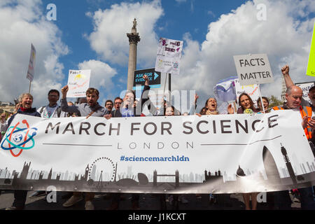 London UK. 22nd April, 2017. March for Science.  Comedians, BAFTA winners and notable scientists join thousands - Stock Photo