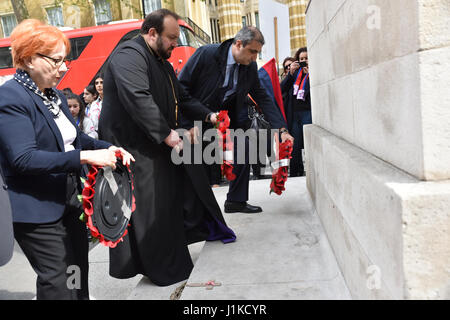Whitehall, London, UK. 22nd Apr, 2017. Armenians commemorating the Armenian genocide at the Cenotaph in London. - Stock Photo