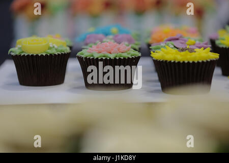 Alexander Palace. London, UK. 22nd Apr, 2017. Cupcakes. Cake International 2017, the Cake Decorating and Baking - Stock Photo