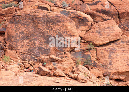 Red Rock Canyon, NV - October 27, 2016:  Climbers preparing to scale a rock face at Red Rock Canyon National Conservation - Stock Photo