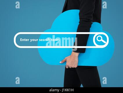 Digital composite of Search Bar with businessman holding cloud - Stock Photo