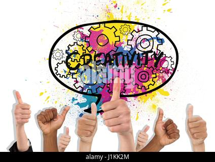 Digital composite of Thumbs up color creativity - Stock Photo