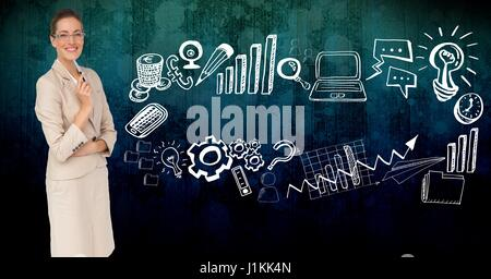 Digital composite of Digitally generated image of businesswoman by various icons - Stock Photo