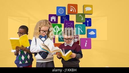 Digital composite of School children reading book against apps icons - Stock Photo