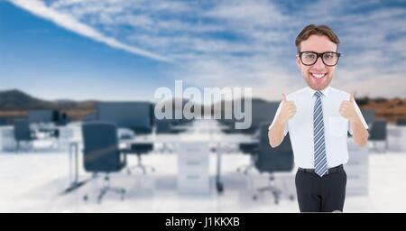 Digital composite of Nerd businessman showing thumbs up - Stock Photo