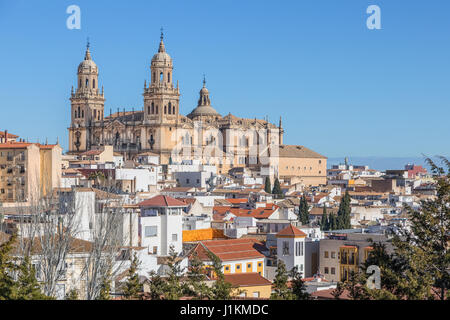 Roofs of the city and Jaen Cathedral in Jaen, Andalusia, Spain - Stock Photo