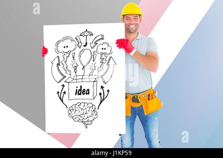 Digital composite of Portrait of architect holding billboard with various icons against colored background - Stock Photo