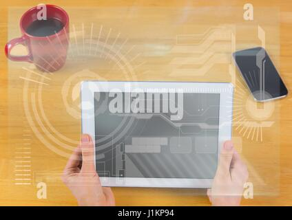 Digital composite of Hands with tablet and white interface overlay - Stock Photo