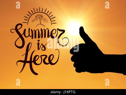 Digital composite of Thumbs up summer is here - Stock Photo