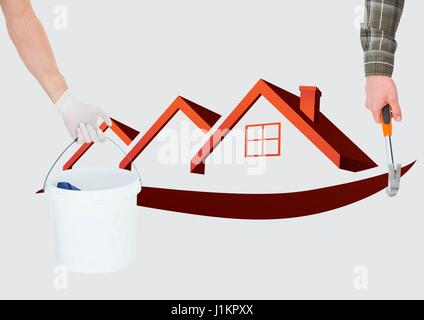 Digital composite of Hand with hammer and hand with a cube in front of the red houses. - Stock Photo