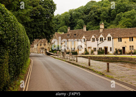 Main street in Castle Combe, Wiltshire, England, UK - Stock Photo