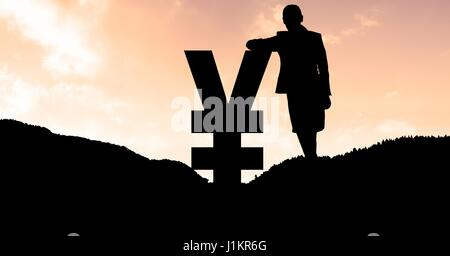 Digital composite of Silhouette businesswoman leaning on yen symbol on mountain during sunset - Stock Photo
