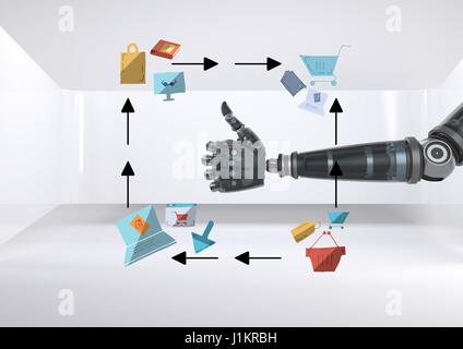 Digital composite of Android hand thumbs up with online shopping drawings graphics - Stock Photo
