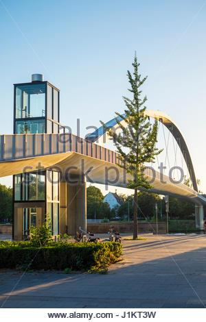 Netherlands, Limburg, Maastricht, Wyck-Ceramique quarter. Modern office buildings and Hoge Brug pedestrian bridge - Stock Photo