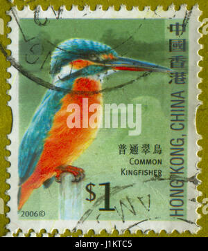 GOMEL, BELARUS, APRIL 21, 2017. Stamp printed in Hong Kong, China shows image of  The Common Kingfisher, circa 2006. - Stock Photo