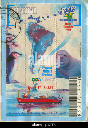 GOMEL, BELARUS, APRIL 21, 2017. Stamp printed in Brazil shows image of  The Brazilian Antarctica is the name of - Stock Photo
