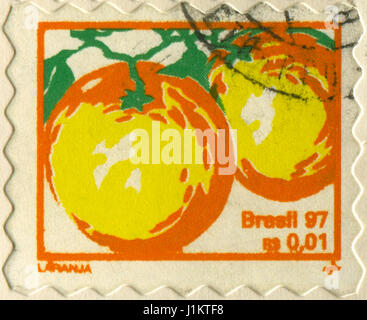 GOMEL, BELARUS, APRIL 21, 2017. Stamp printed in Brazil shows image of  The Orange, circa 1997. - Stock Photo