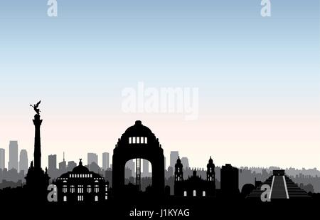 Mexico city skyline. Cityscape silhouette with landmarks. Travel Mexico background - Stock Photo