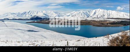 Panoramic view of Lake Tekapo, Southern Island of New Zealand