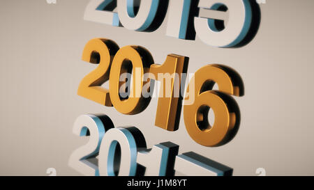 Metal number 2016 made of golden iron - Stock Photo