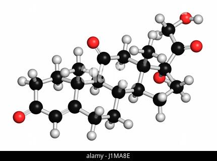 Cortisone stress hormone molecule. Atoms are represented as spheres with conventional colour coding: hydrogen (white), - Stock Photo