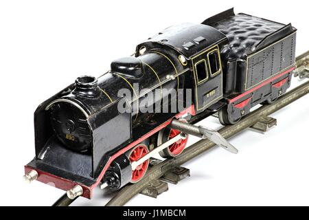 old model railway isolated on white background - Stock Photo