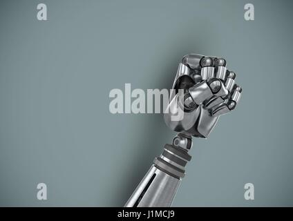 Digital composite of Android Robot hand fist with blue background - Stock Photo