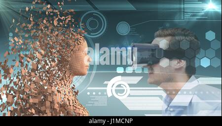 Digital composite of Businessman looking at 3d human through VR glasses