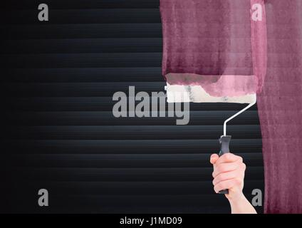Digital composite of Hand with roller pining the screen  in front of blind - Stock Photo
